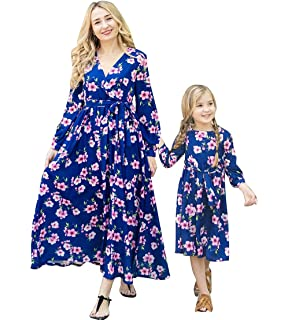 58944249c Mother&Daughter Family Matching Floral Print Long Sleeve One Piece Swing  Maxi Long Dresses Mommy and Me