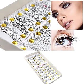4e08bc3b62b Image Unavailable. Image not available for. Color: BeautyU&Me 10 Pairs  Makeup Handmade Soft Natural Fashion Long False Eyelashes Eye Lashes ...
