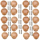 20pcs Round Wooden Drawer Cabinet Knobs Furniture Pulls for Dresser Drawers Wood 28mm