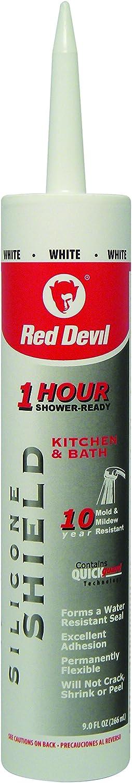 Red Devil 0816KB Silicone Shield Kitchen & Bath Sealant, 9.0 Oz, White, Pack of 1