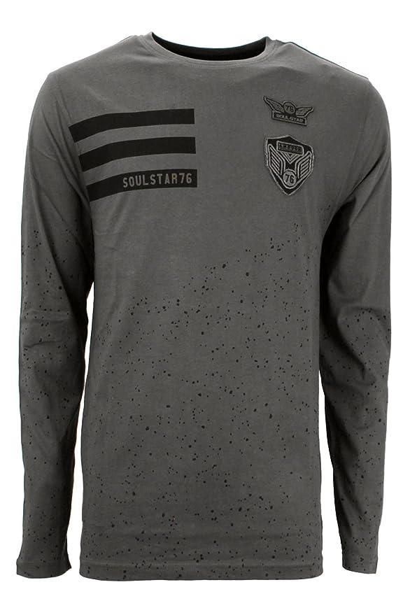 Soulstar hommes Olvera Designer col polo manches longues coton col t-shirts haut - Gris charbon, Medium