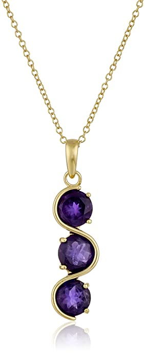 Amazon 18k yellow gold plated sterling silver genuine african 18k yellow gold plated sterling silver genuine african amethyst journey pendant necklace 18quot aloadofball Images