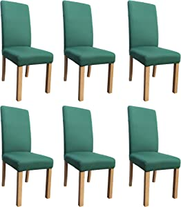 She Yang Spandex Fabric Stretch Removable Washable Dining Room Chair Cover Protector Seat Slipcovers Set of 6 (Green, 6)