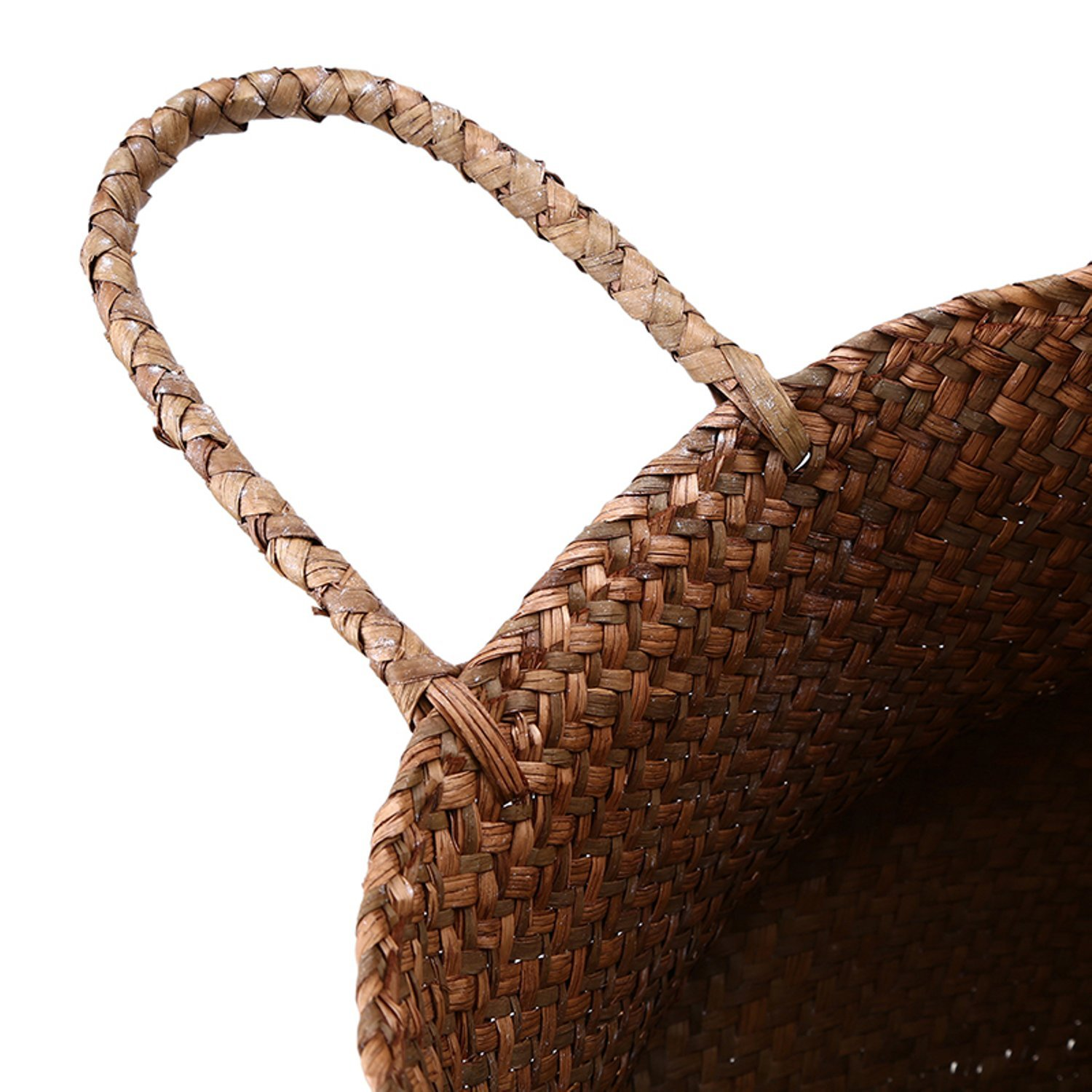 Woven Wicker Seagrass Plant Stand Flower Pot Care Storage Basket Woven Lightweight Foldable Collapsible Garden Yard Laundry Supplies Basket Patio Organizer Decoration (Nature-White)