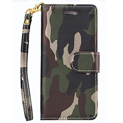 save off 75b64 112f8 Camouflage Wallet Flip Case for iPhone 6,360° Protection Holster in  PC+Silicone with Credit Card and Photo Slots for iPhone 6s Camo Green