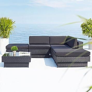 Concept-Usine - Amorgos noir : salon de jardin d\'angle en résine ...