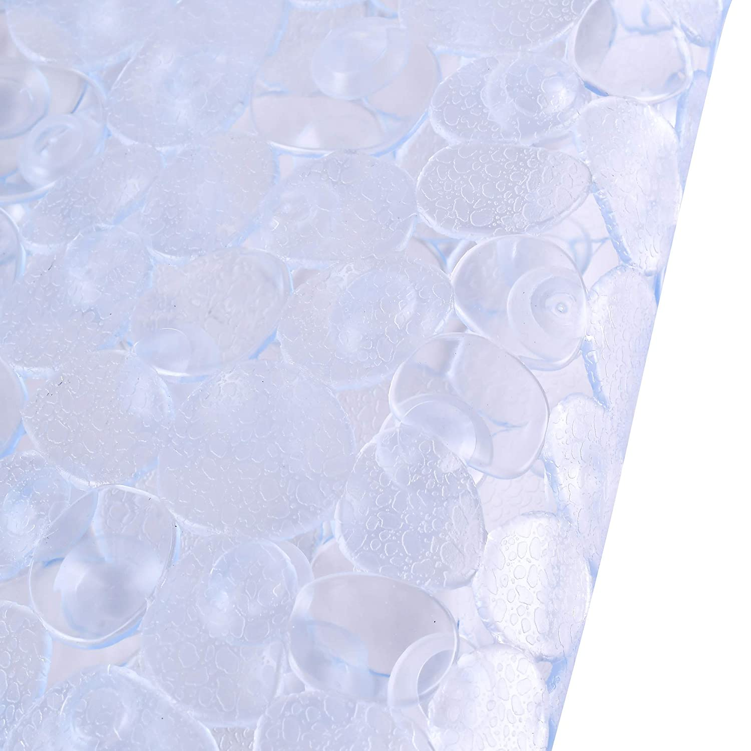 Bathsafe Thicken PVC Frosted Pebbles Non-slip Bath Mats Anti-Bacterial Safety Strong Suction Cups Shower Mat Oval Non-slip Bathtub Mat,69x39CM,Clear