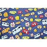 "Happy Camper - Retro RV Fun Camping VInyl Flannel Back Tablecloth - 96"" x 54"""