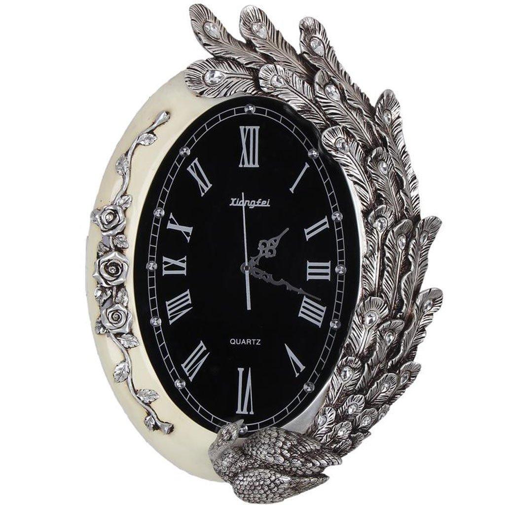 ウォールクロック樹脂ホームファッションリビングルームの壁時計クリエイティブな農村のバラ時計ポケット時計ヨーロッパスタイルのクォーツ時計ホール (Color : Silver) B07CSQ62LZSilver