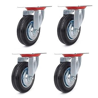 4x Roulettes pivotantes Miafamily Lot de 4 x 125 mm Roulettes de Transport Roulettes charges lourdes rouleaux Bock Rouleau meubles roues Roulettes avec freins /& Roulettes pivotantes