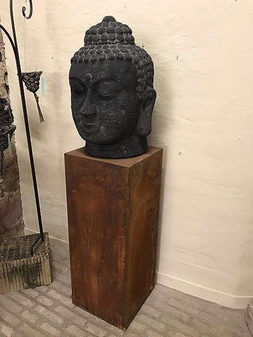 Palatina Werkstatt Gigante XXL Budha Cabeza de Piedra volcánica, Hecha a Mano, Resistente a la Intemperie y a Las heladas, Gran Escultura decoración para el jardín, XXL-Buddha-Kopf + Podest: Amazon.es: Jardín