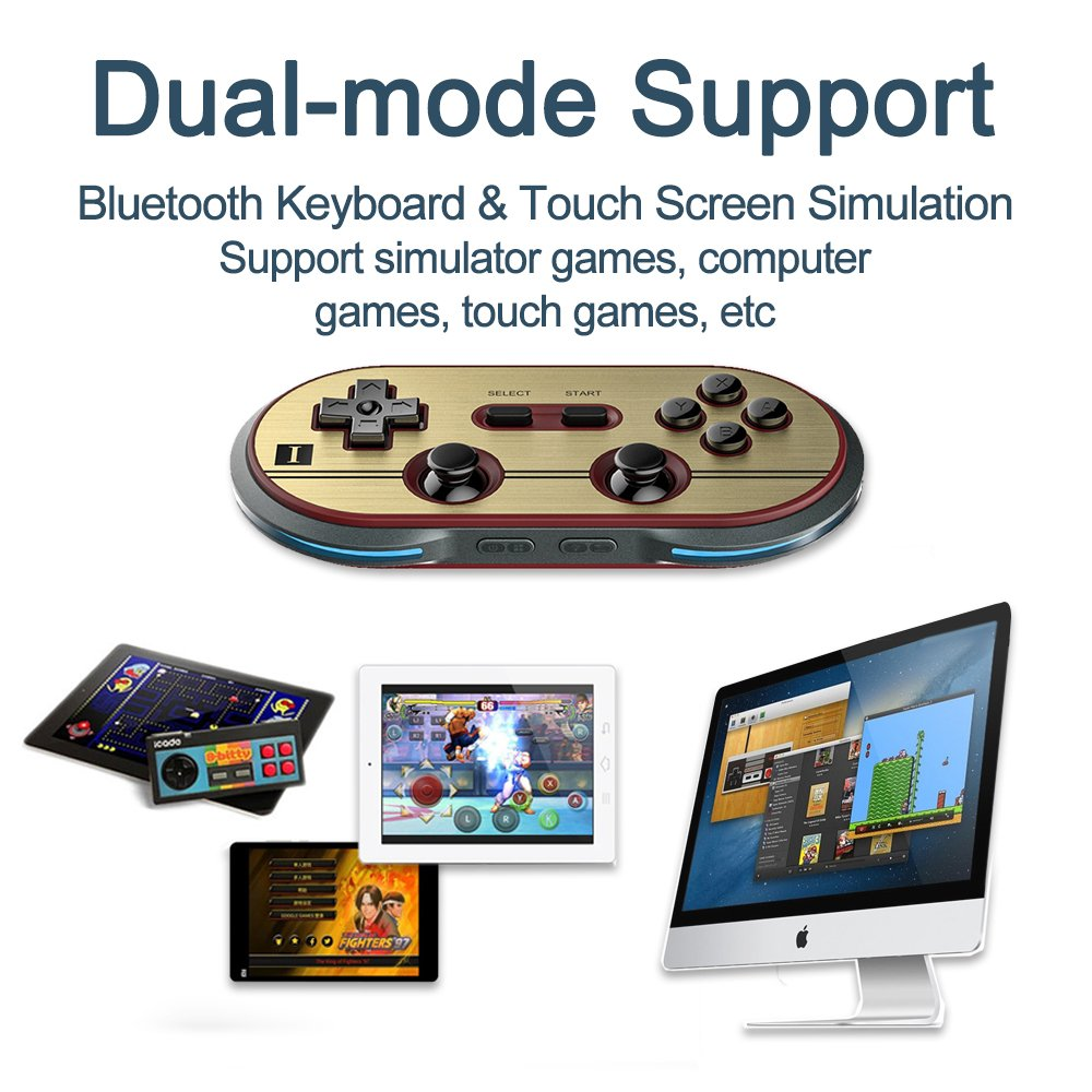 ElementDigital 8Bitdo F30 Pro Wireless Bluetooth Controller GamePad Retro Styled for PCs /Android & iOS Phones /MacOS /Playsation 3 PS3 /Wii-U /Wii /RetroN5 Switch Gamepad by ElementDigital (Image #3)