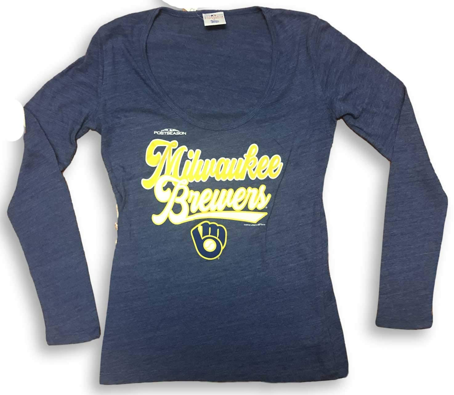 Campus Lifestyle Milwaukee Brewers Scoop Neck Womens Long Sleeve T-Shirt
