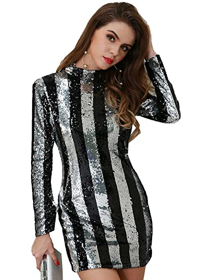 Missord Women Fashion High Neck Long Sleeve Striped Elegant Dress At
