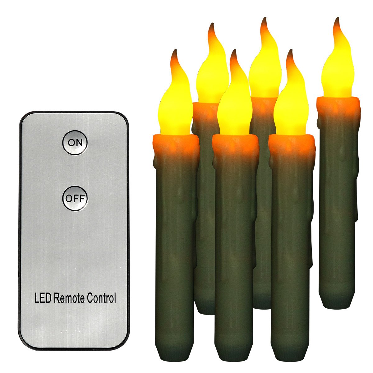 Dreaweet Remote Control Set of 6 Yellow Battery Operated Taper Candles Wax Dipped LED Flicker Amber Realistic Long Taper Candles for Birthday Wedding Party Décor Long Lasting -Batteries Not Included