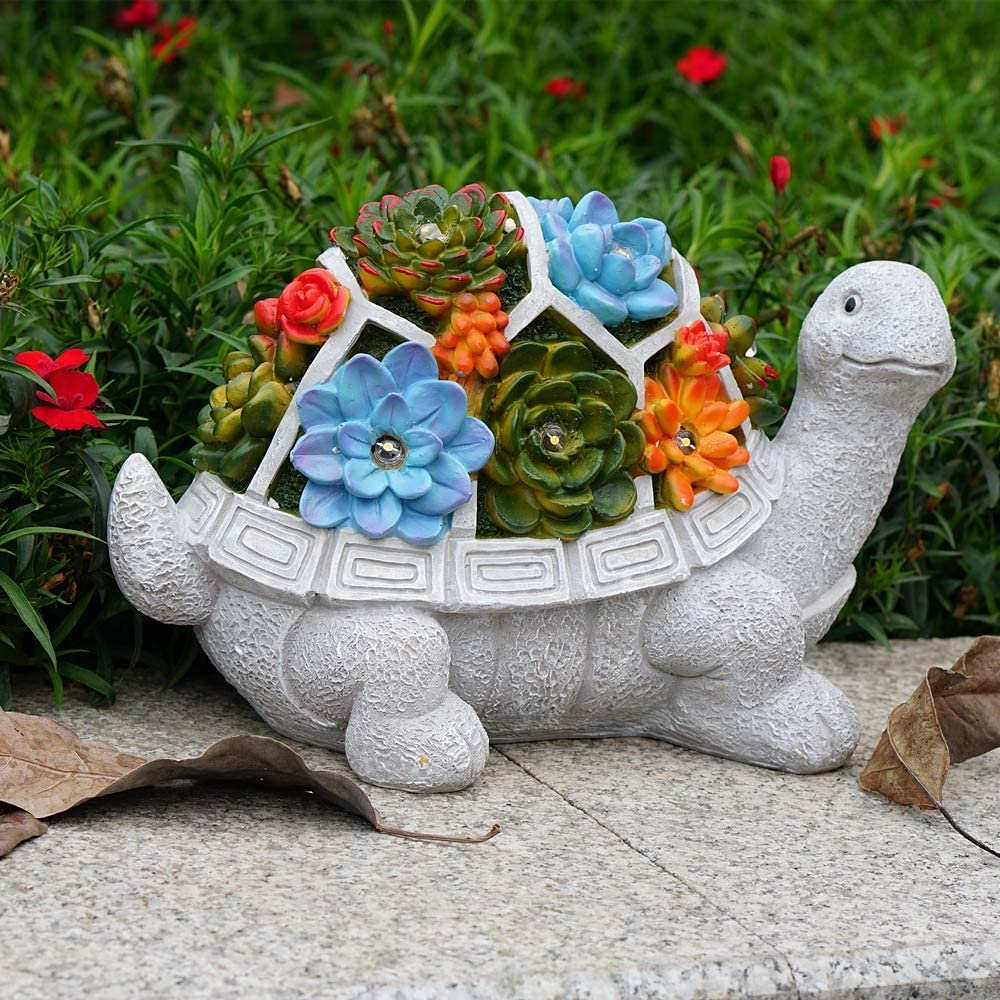 SunKite Turtle Garden Statues Figurines Outdoor Decor with Solar Lights, Resin Solar Animal Sculpture with LED Lights for Patio, Lawn, Yard Art Decoration, Housewarming Gift (Grey)