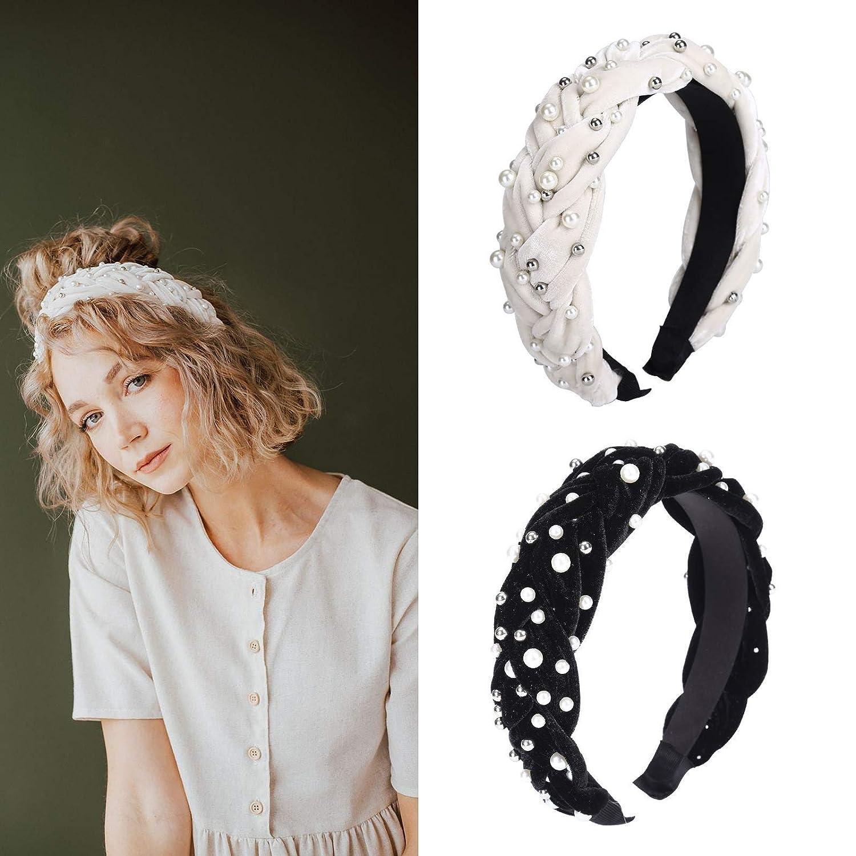 Women/'s Braid Pearl Embellish Headband Twist Hair Bands Hair Hoops Accessories