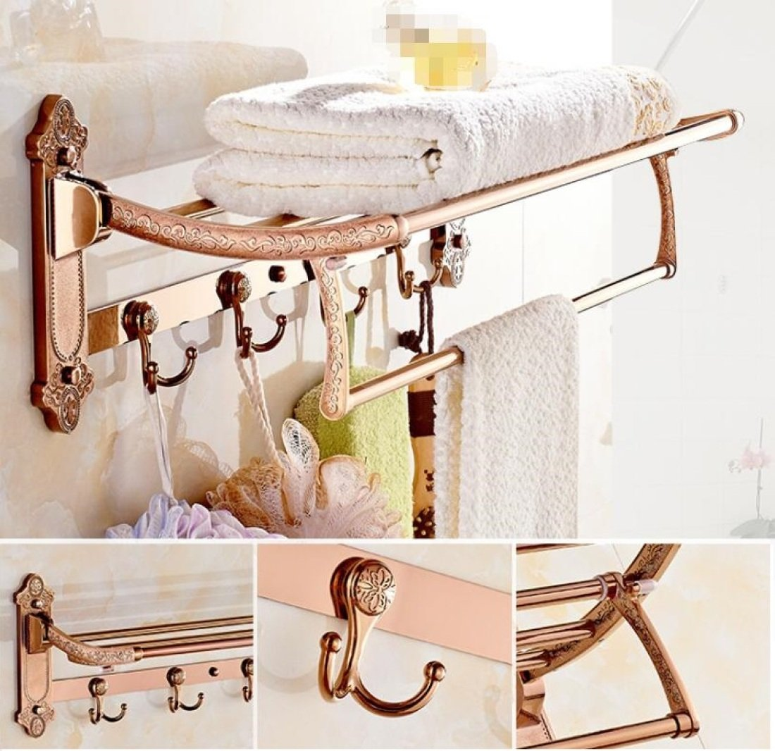 GL&G European luxury Rose gold Bathroom Bath Towel Rack Double Towel Bar Oxidation fold Bathroom Shelf Shower Bathroom Storage Organizer Shelf Holder Towel Bars,6023.513.5cm