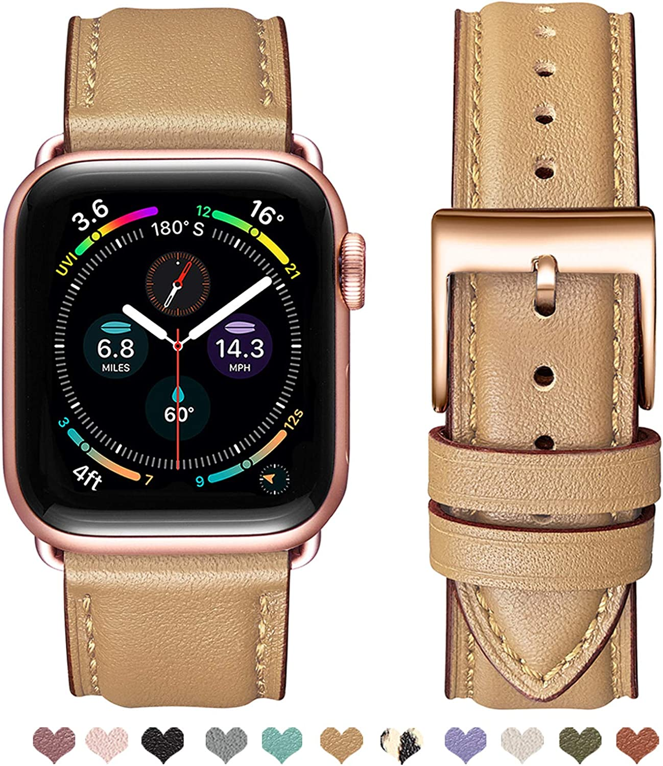 OMIU Square Bands Compatible for Apple Watch 38mm 40mm 42mm 44mm, Genuine Leather Replacement Band Compatible with Apple Watch Series 6/5/4/3/2/1, iWatch SE (Camel/Rose Gold Connector, 42mm 44mm)