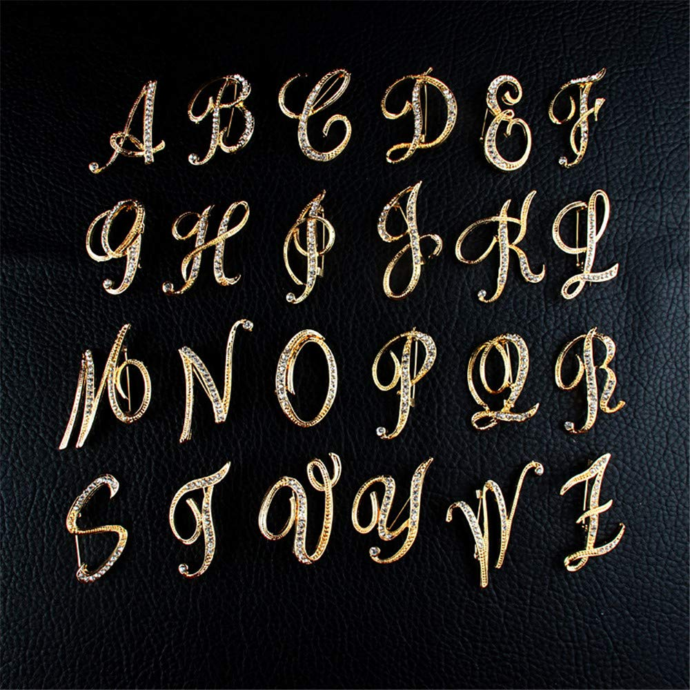 Amazon.com: PunkStyle - Broche con letra dorada y diamante ...