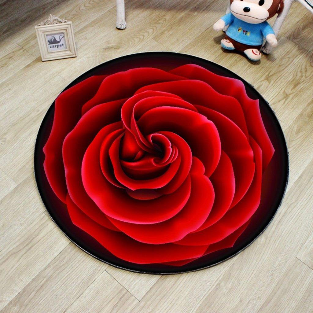 Hongyan Kreativer runder Teppich Wohnzimmer Kissen drehbarer Stuhl Computer Stuhl Kissen Bettdecke Decke Rose Teppich (Farbe : Rot, größe : Diameter 160cm)