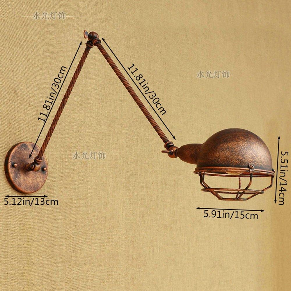 Pointhx Aplique de Pared Vintage Lámpara de Pared Ajustable Columpio Simple Personalidad Creativa Columpio Ajustable Lámpara de Pared de Metal para Bar Cafe Garaje Accesorio de Iluminación de Pared (tamaño : 30+30cm) c0d054