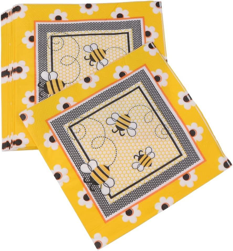 20pcs Paper Yellow Disposable Napkins Birthday Party Catering Supplies