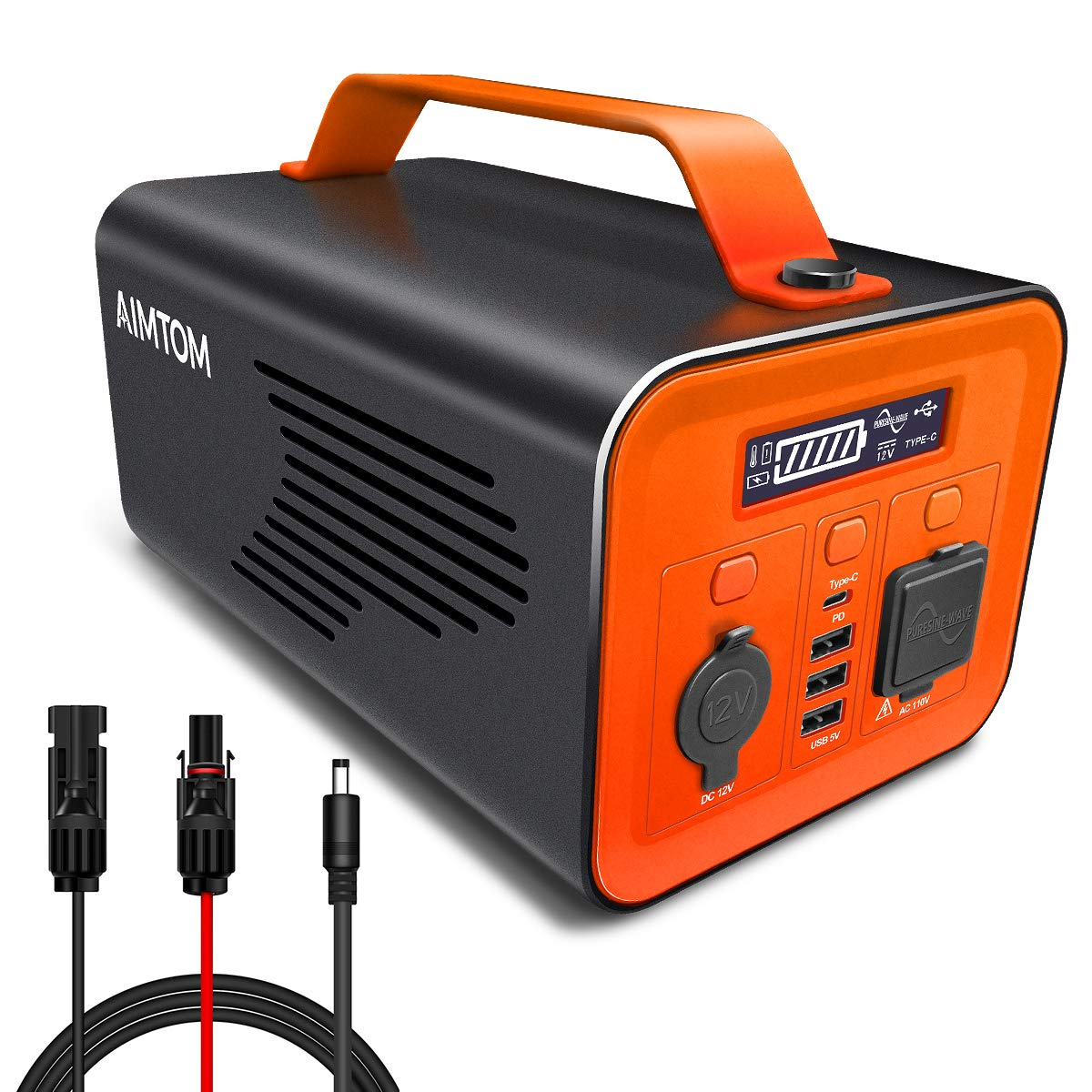 AIMTOM 230Wh Portable Power Station, Lithium Battery Powered Generator, 110V 200W AC, 60W Type-C PD, 12V Carport and USB Ports, Pure Sine Wave, Solar Ready for Outdoors Camping Off-Grid RV CPAP BiPAP