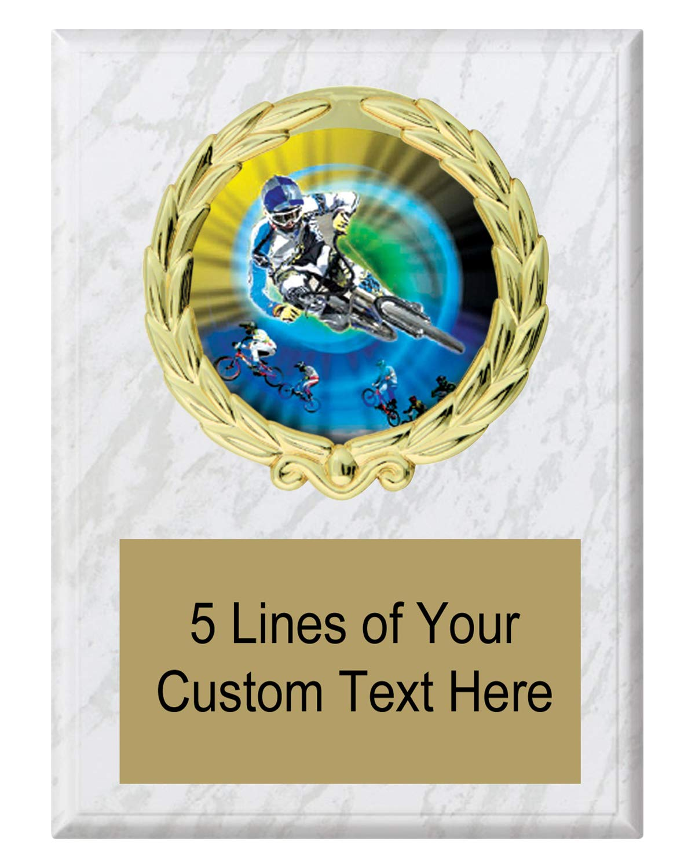 Express Medals 5x7 ホワイトマーブルカラービリヤードプール飾り額トロフィー 刻印プレート付き MY4 B07N5G6M8Y