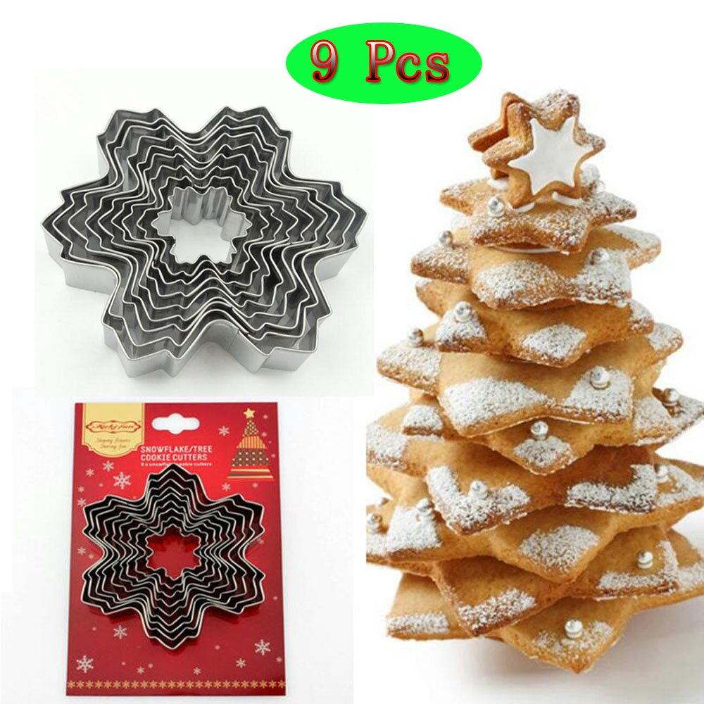 (Set of 9)The Easiest Fantasy Christamas Snowflake Sugarcraft Cookie Cutter Set, 9 Size,For Easiest Christamas tree cookie