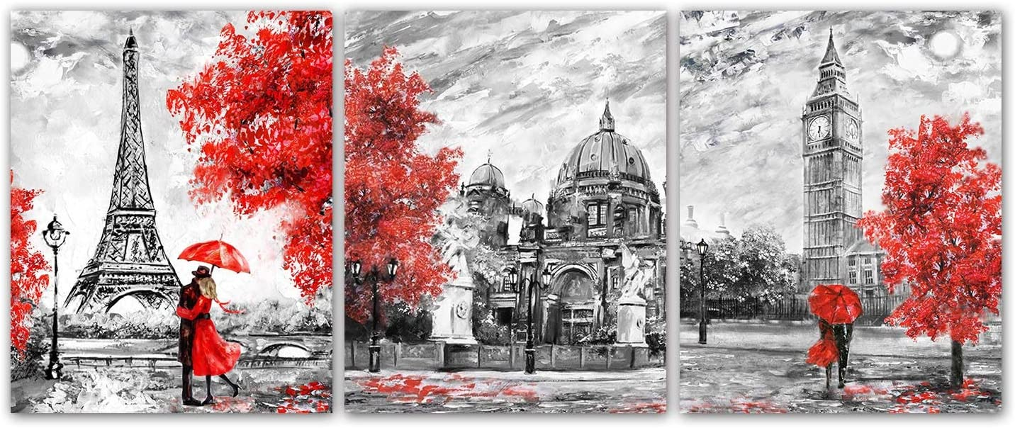 Paris Eiffel Tower Posters Art Painting Set of 3 White Black Red Paris Theme London Big Ben Eiffel Tower Wall Art Decor for Girls' Bedroom Unframed 8x10inches