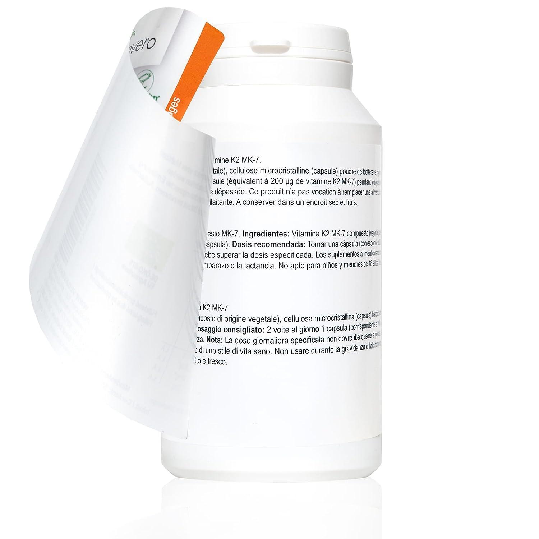 Vitamina K2 de Vegavero | 120 cápsulas 100 mcg al día | producto natural MK7 | Vegano certificado Vegan Society: Amazon.es: Salud y cuidado personal