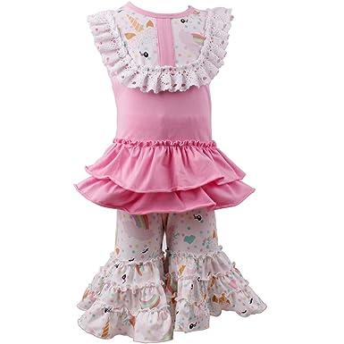 50e2113ee Amazon.com  Baby Girl 2 Pieces Pant Set Summer Unicorn Rainbow ...