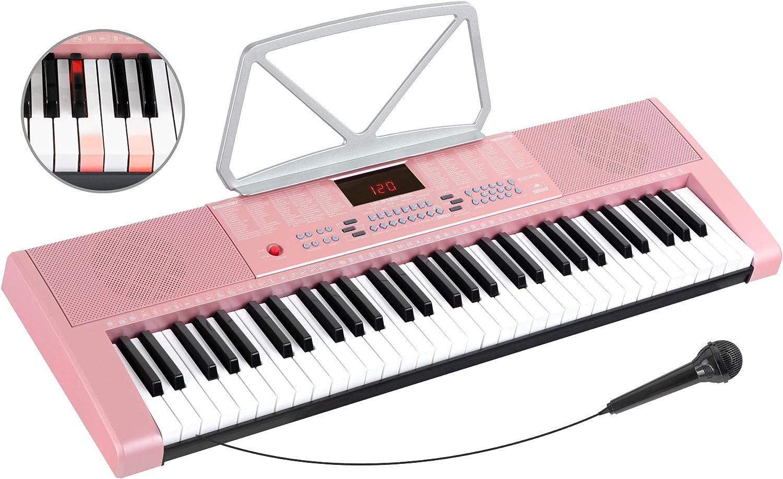 McGrey LK-6120-MIC teclado iluminado con micrófono rosa