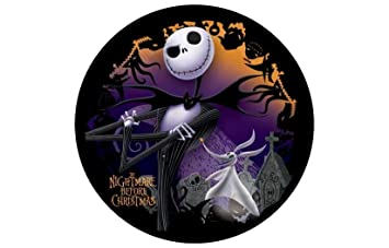 Jack Nightmare Before Christmas Round Edible Image Cake Topper Birthday Decoration Sugar Sheet Skellington Sally Halloween