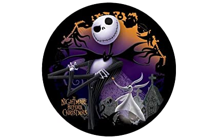 jack nightmare before christmas round edible image cake topper birthday decoration sugar sheet skellington sally halloween - Nightmare Before Christmas Birthday Decorations