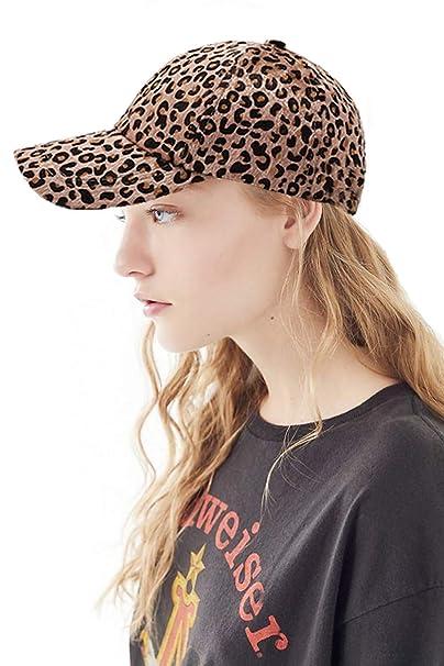 d5f6d80837d05 Women Leopard Print Hat Cap Adjustable Faux Fur Calf Hair Leopard Print  Baseball Dad Hat Plain