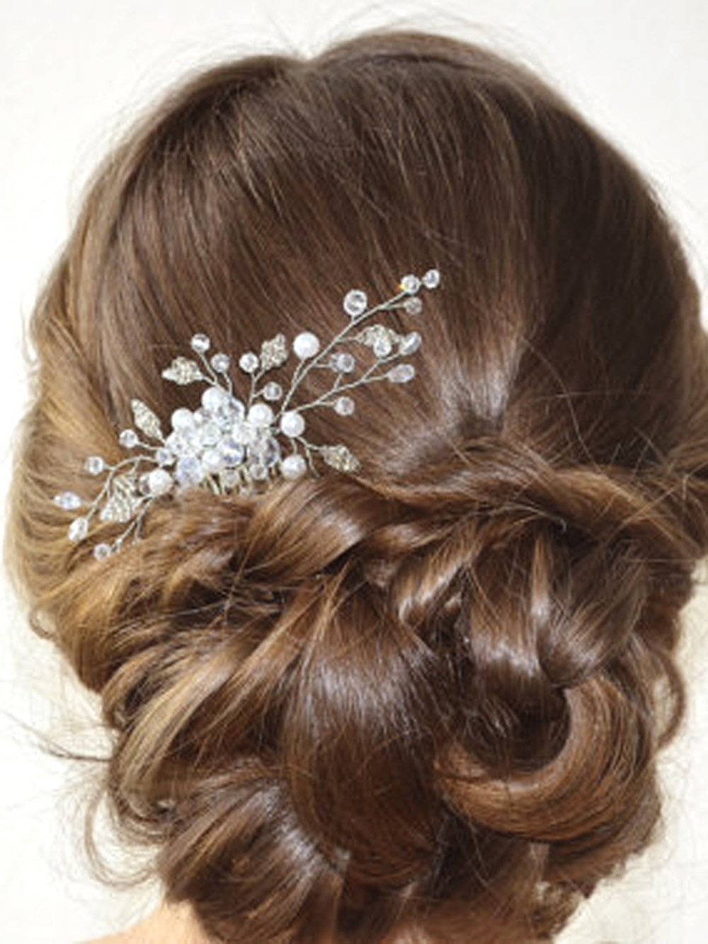 simsly Hochzeit Haarkamm Haarschmuck Folien Zubehör für Braut und Brautjungfer (Silber) fs-114