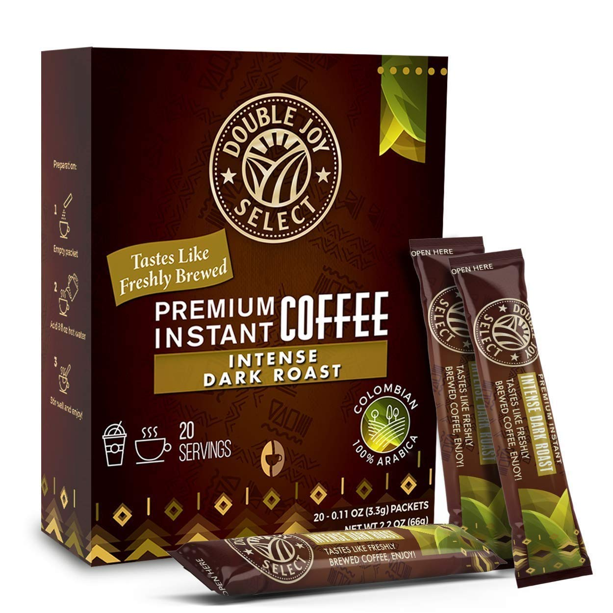 Instant Coffee Packets - Instant coffee singles Tastes Like Freshly Brewed (Intense Dark Roast, 20 Packets)