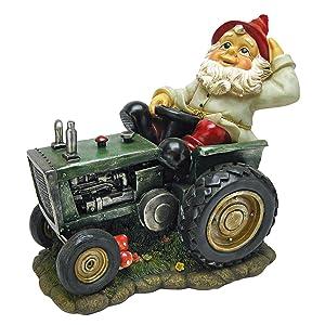 Design Toscano Garden Gnome Statue - Plowing Pete Garden Gnome Tractor - Lawn Gnome