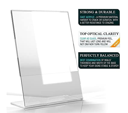 Coutertop Label Stand Desk Sign Holder Business Name Card Holder Wood Menu Stand Frame Photo Picture Poster Frame A5 Acrylic Card Holder & Note Holder Desk Accessories & Organizer
