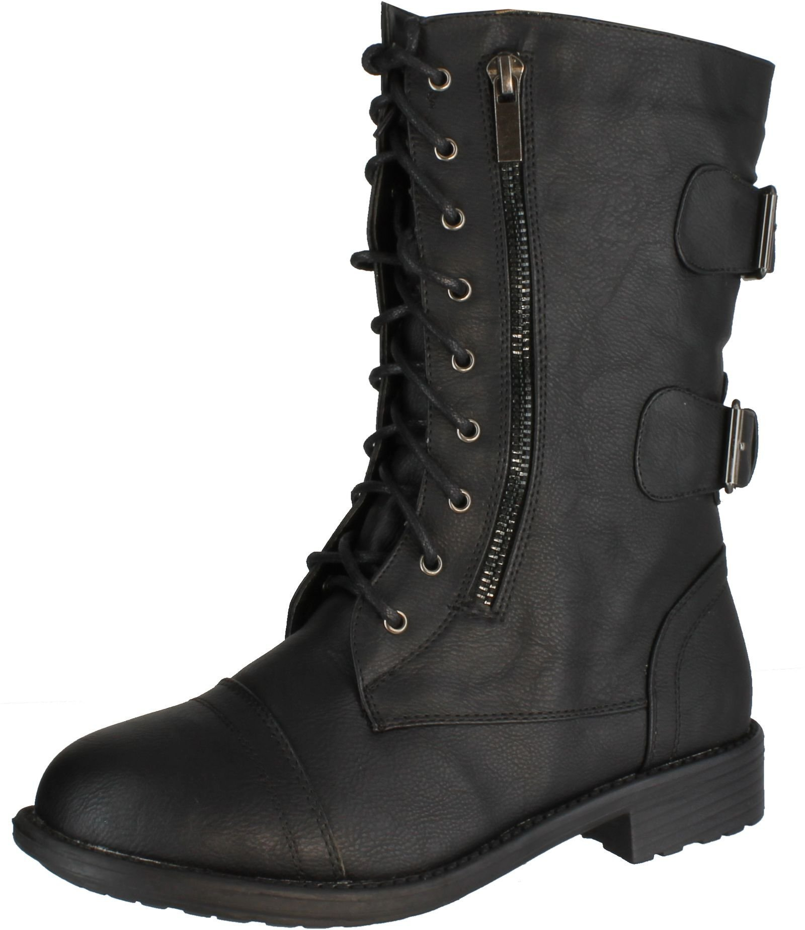 Top Moda Pack-72 Women's Fashion Mid Calf Low Heel Combat Military Zipper Lace up Shoes (11, Black)