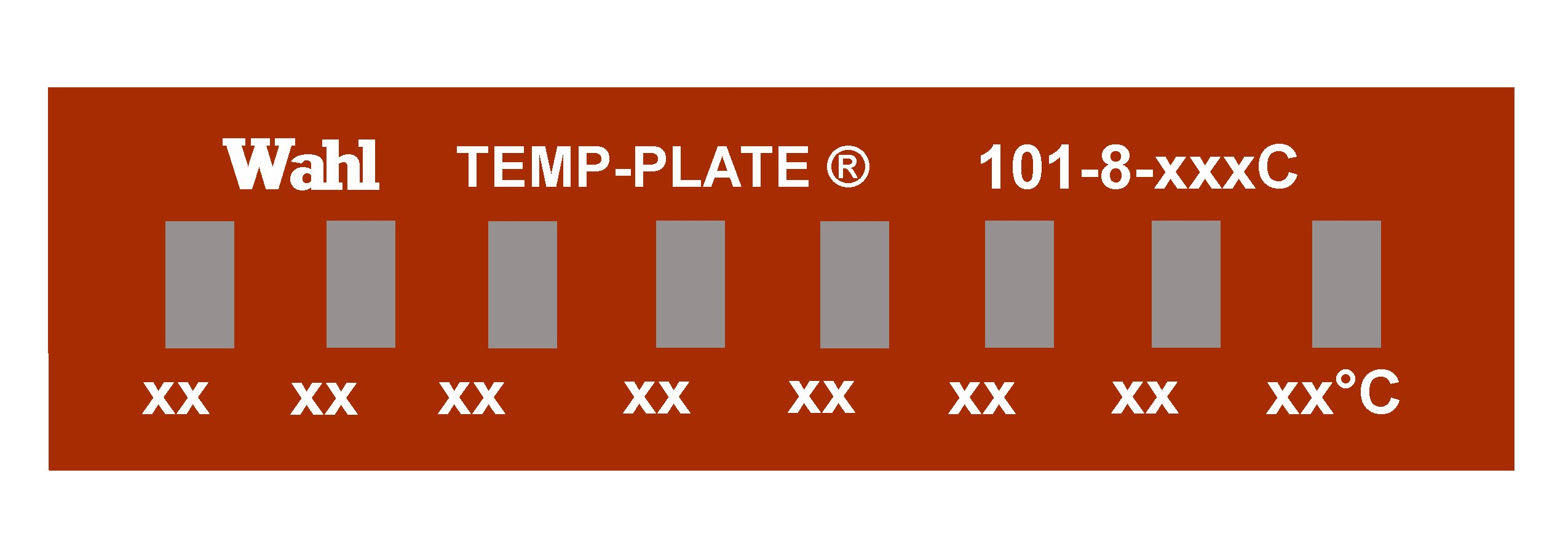 Wahl 101-8-087C Mylar Mini Eight-Position Temp-Plate, 87-93-98-104-110-115-121-126 Degrees C Positions, 1.5'' Width x 0.38'' Height (Box of 10 labels)