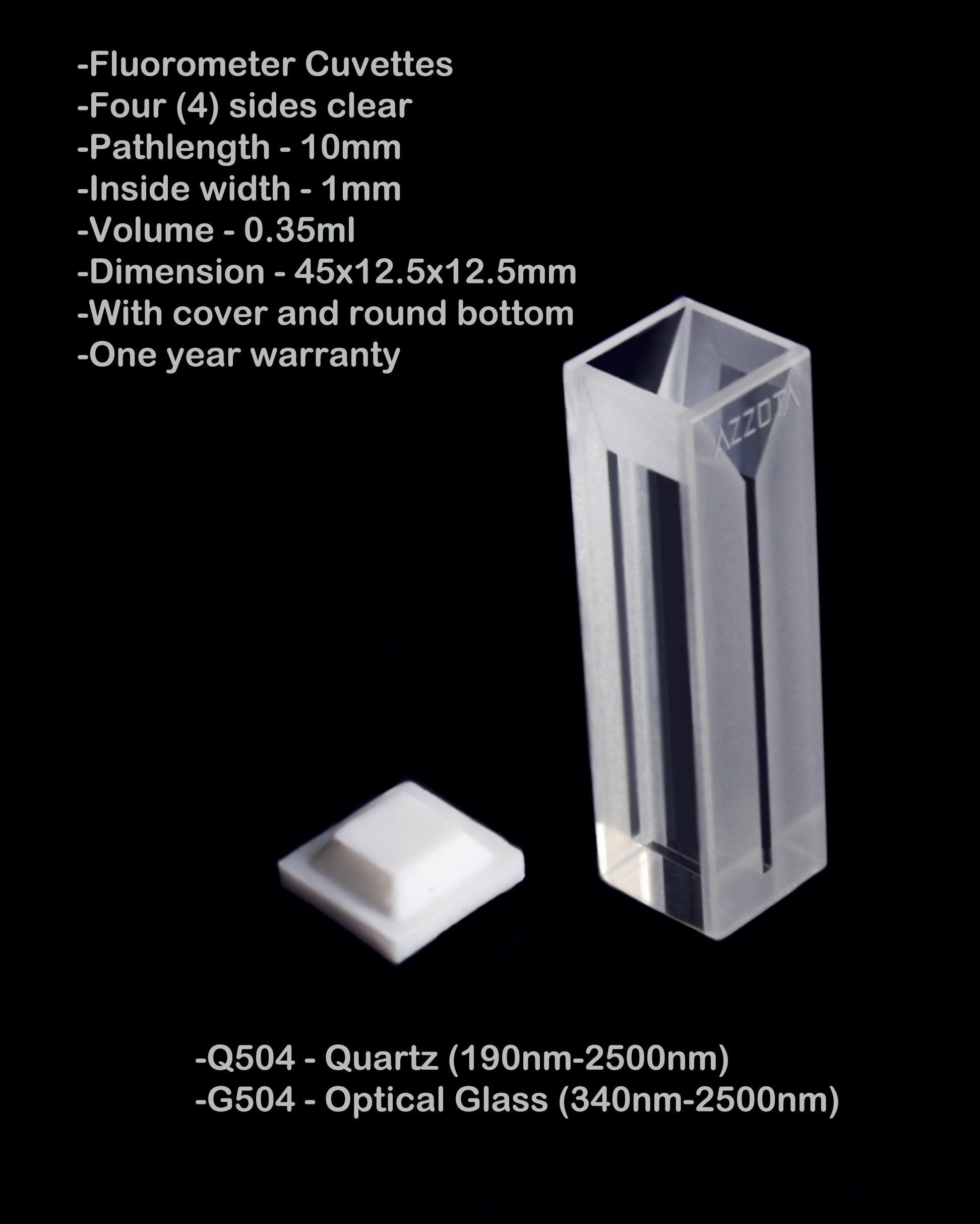 10mm Pathlength Fluorometer Cuvettes - 0.35ml Quartz