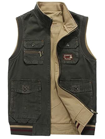 657e8dd0751 SZAWSL Men s Cotton Hiking Sport Outdoor Vest Waistcoats Multi Pockets  Gilet Waistcoat Jacket (UK Small