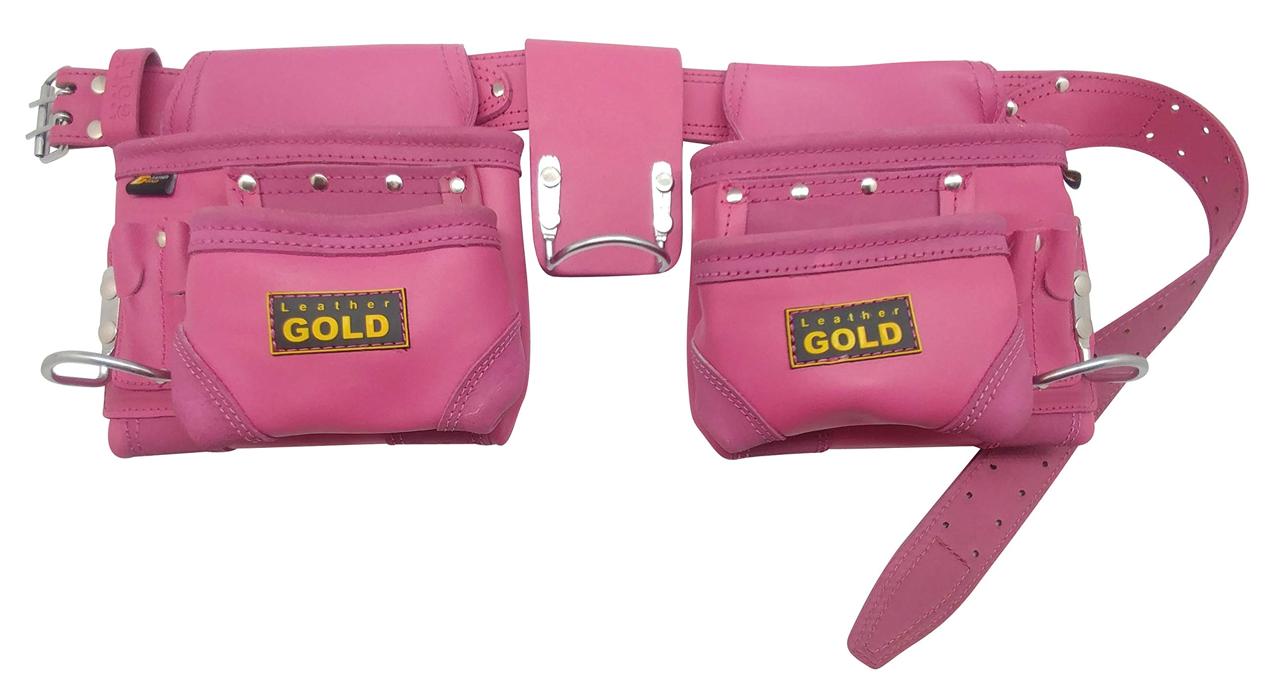Leather Gold Tool Belt for Women | Womens Pink Tool Belt 3450 | Natural Leather | The 10 Pouches and 3 Hammer Holders are Easily Adjustable | Professional Grade | Durable, Comfortable for All Day Wear by Leather Gold