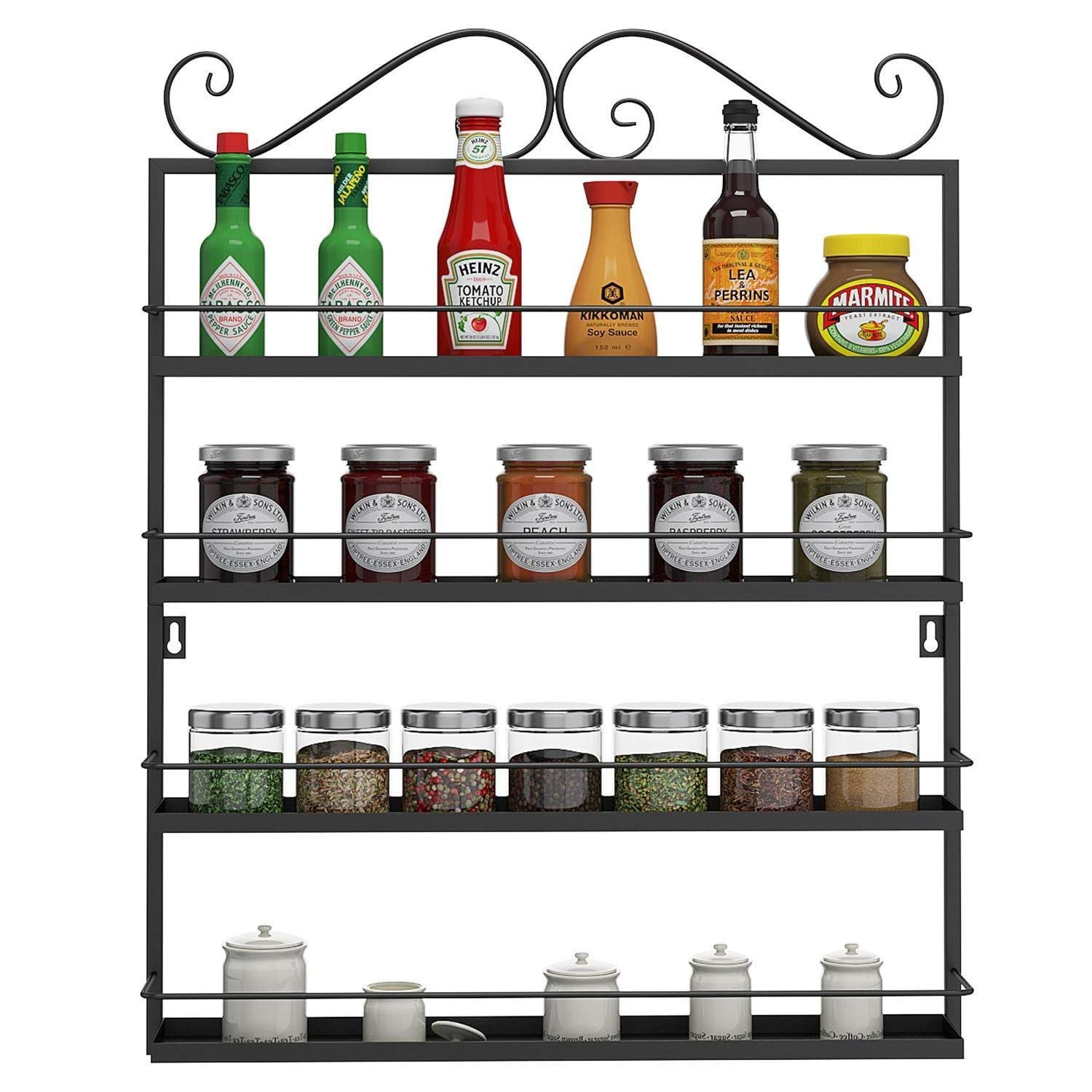 Utheing Durable Multifunctional Metal Kitchen Condiments Storage Shelves, Wall Mounted Storage Rack, Great for Storing Spices, Household Items (black) by Utheing