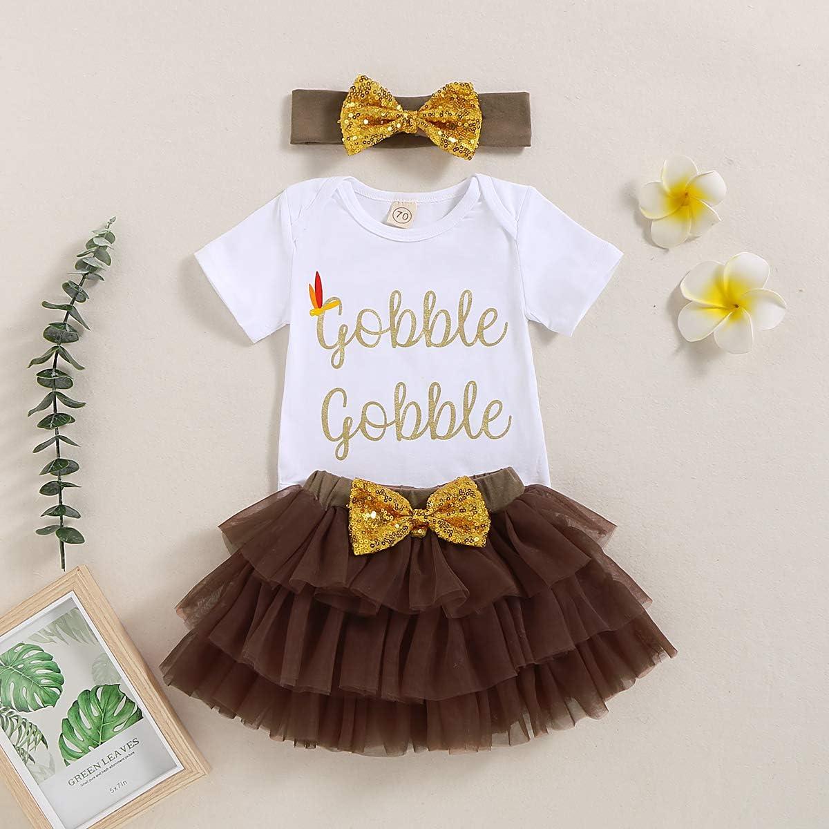 Headband 3Pcs Tutu Dress Infant Newborn Baby Girls 1st Thanksgiving Outfits Skirt Sets Floral Brown Romper