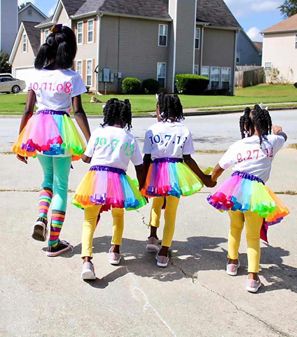 Headband /& Satin Sash JiaDuo Girls Costume Rainbow Tutu Skirt with White Shirt