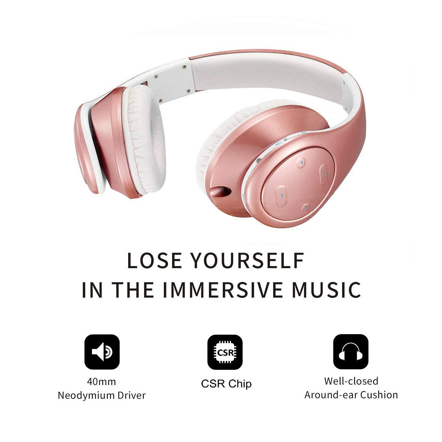 Cascos Bluetooth Inalámbricos, Auriculares Bluetooth Diadema con Micrófono Manos Libres, Plegable Hi-Fi Estéreo con 3.5mm Audio Jack para TV, PC, Tablet, ...